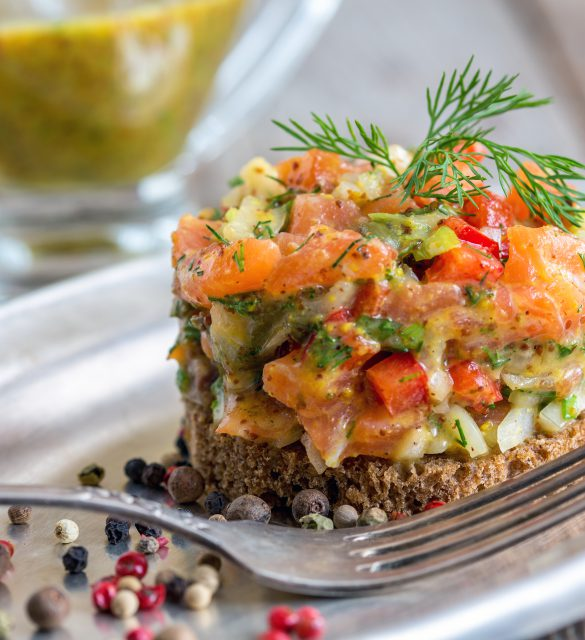 Tartare with salmon on a slice of .