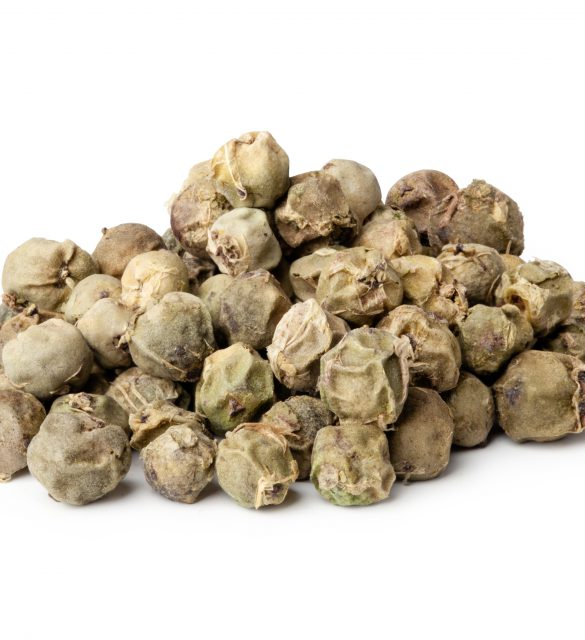 Heap ground green peppercorn isolated on white background