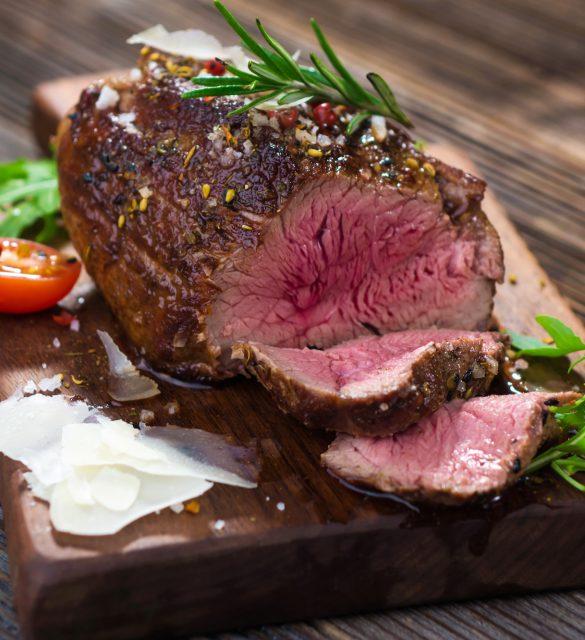Sliced medium rare grilled Beef steak
