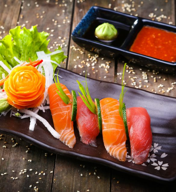 Japanese Salmon, tuna sushi and sauce - decor, stylish food